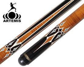 Artemis Mister 100 Brown with Black and White Decals Carom Billiard Cue