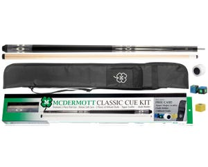 Classic Pool Cue Kit 4 with Case and Accessories by McDermott - Grey