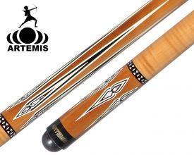 Queue de billard français Artemis Mister 100 marron / Erable ondulé avec motifs