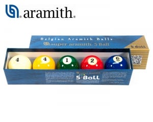 Super Aramith 5-Ball Billiard Balls Set - 61.7 mm