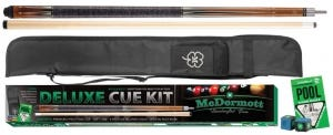 Deluxe Pool Cue Kit 3 with Case and Accessories by McDermott - Brown