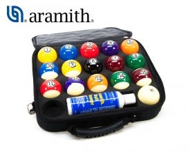 Aramith Tournament Pool Balls with Case with Duramith Technology
